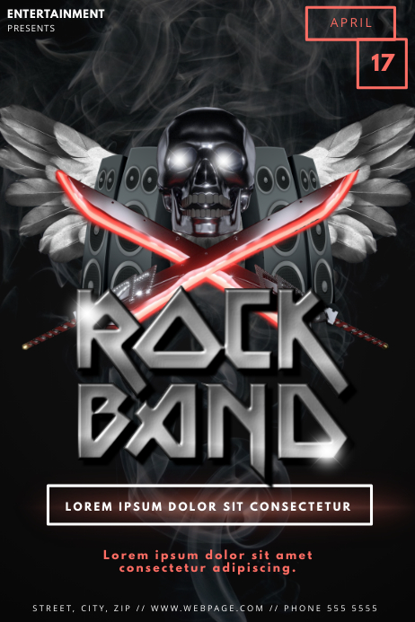 Skull Rock Band Party Flyer Template | PosterMyWall