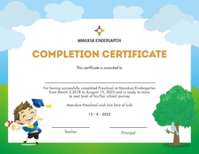 Sky and grass kindergarten diploma certifcate Рекламная листовка (US Letter) template