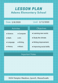Sky Blue School Lesson Planner Template