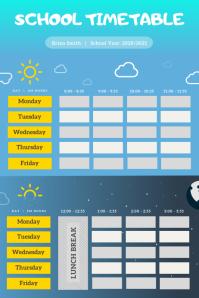 Sky Blue School Timetable Portrait Poster