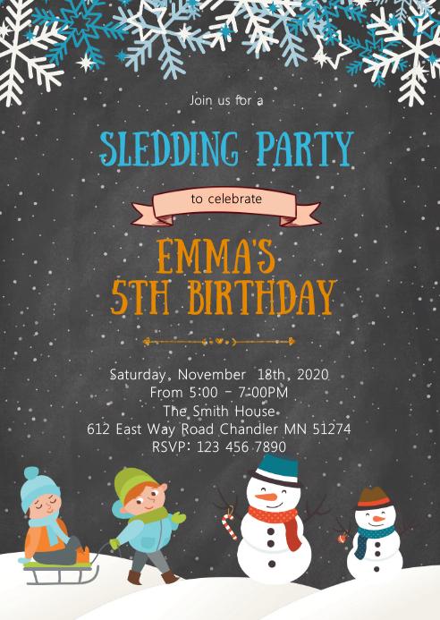 Sledding birthday invitation