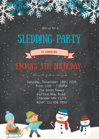 Sledding birthday party invitation