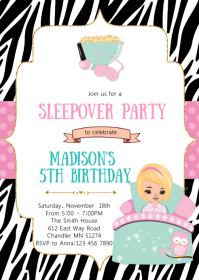 Sleepover birthday party invitation