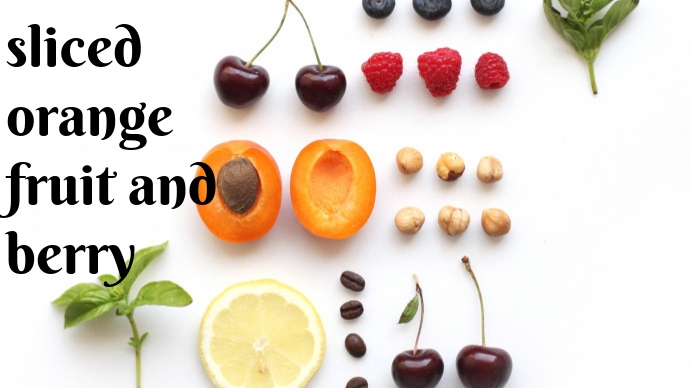 sliced orange fruit and berry Digitalt display (16:9) template