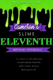 Slime Birthday Invitation
