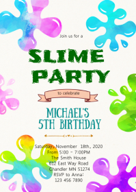 Slime birthday party invitation