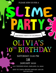 Slime Birthday Party Invitation Template