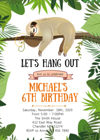 Sloth birthday party invitation