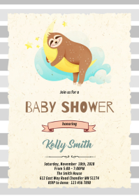 Sloth shower theme invitation