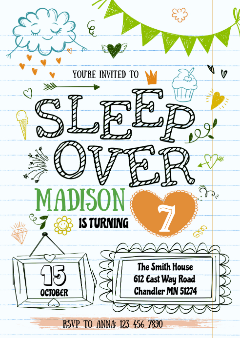 Slumber birthday party invitation