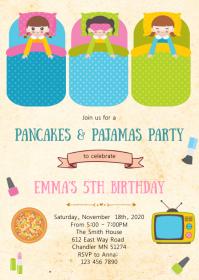 Slumber pancake birthday party invitation A6 template