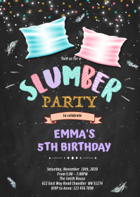 Slumber party birthday invitation