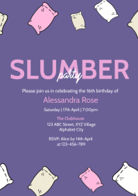 Slumber Party Invitation A4 template