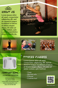Small business advertisement flyer: fitness center, spa, body care studio
