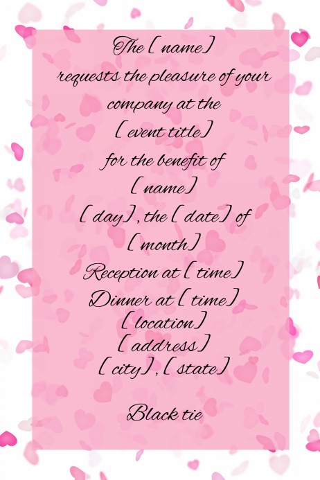 Small Business Dinner Reception Invitation Heart confetti