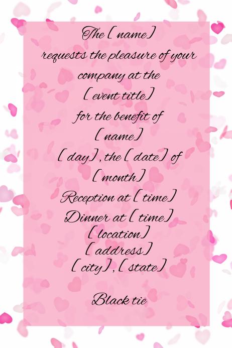 Small Business Dinner Reception Invitation Heart confetti