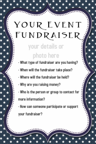 Small Business Fundraiser Event Flyer Invitation Blue Stars Poster template
