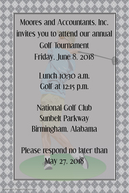 Small Business Golf Tournament Golf Club Event Flyer Poster