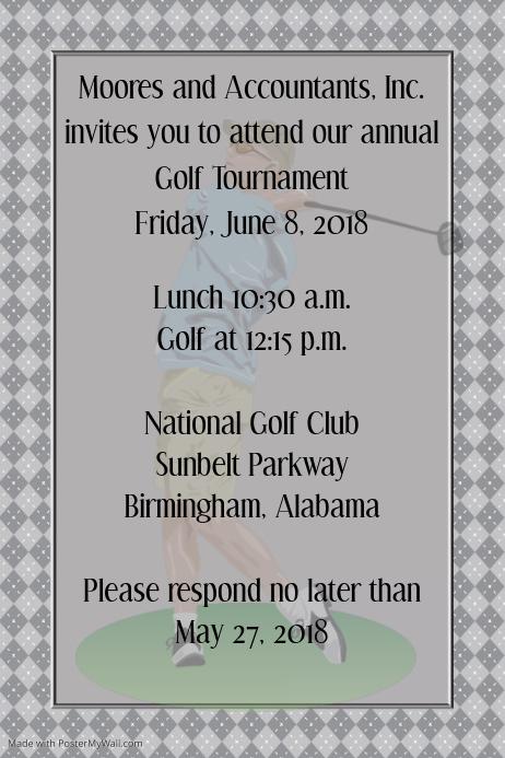 Small Business Golf Tournament Golf Club Event Flyer Poster