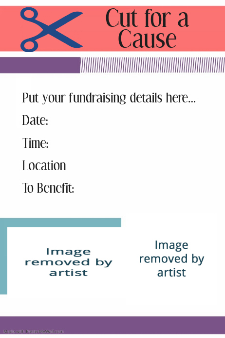 Small Business Hair salon Fundraiser Template Poster event