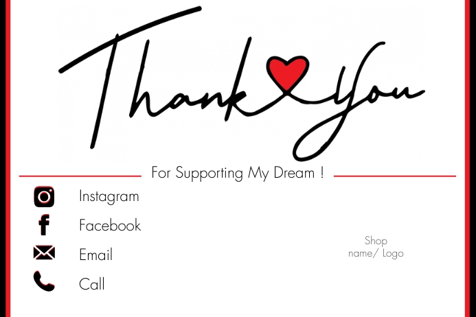 Small Business Thank You Card Rótulo template