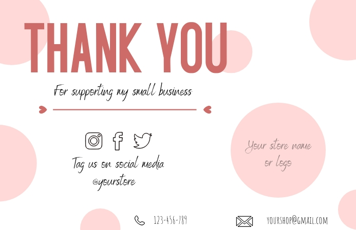 Small Business Thank You Card Tabloid template