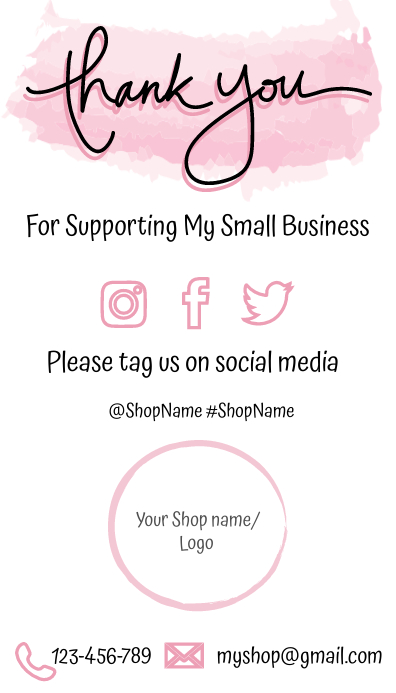 Small Business Thank You Card นามบัตร template