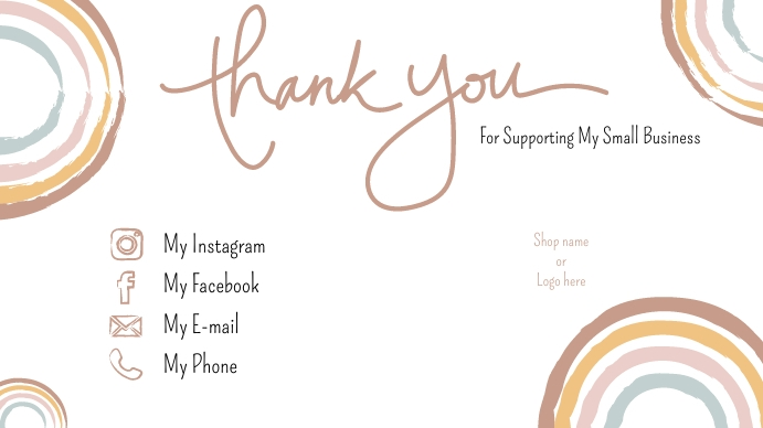 Small Business Thank You Card Digitalt display (16:9) template