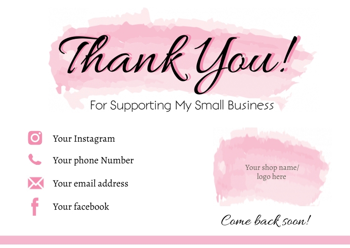 Small Business Thank You Card Postkort template