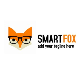 Smart fox logo orange and black 徽标 template