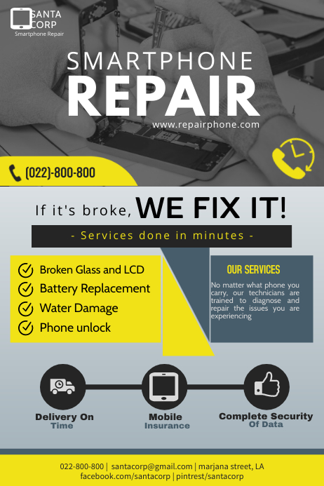 Smart phone repair flyer Póster template