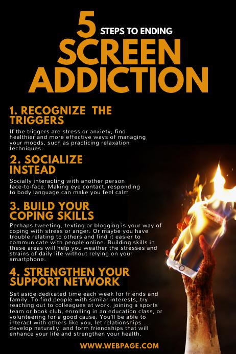 Smartphone Addiction Flyer Design template