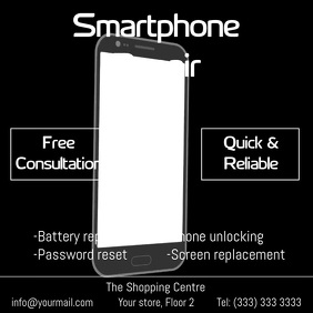 Smartphone repair animation video ad Square (1:1) template