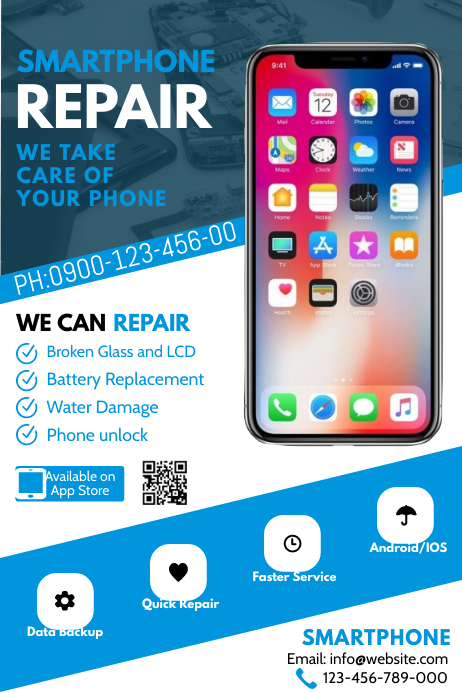 Smartphone Repair Flyer Póster template
