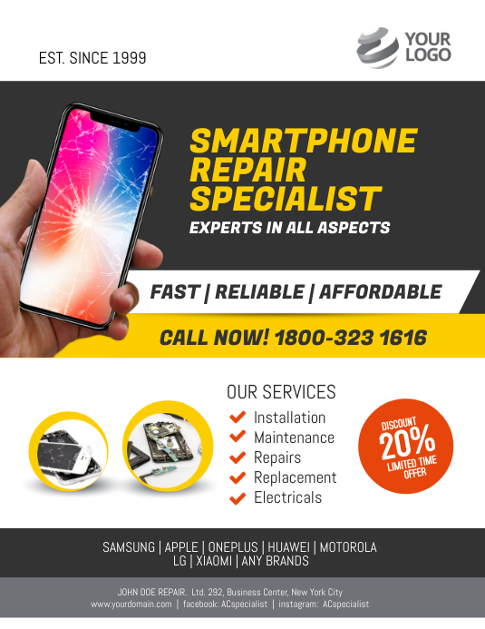 Smartphone Repair Specialist Flyer Poster Template