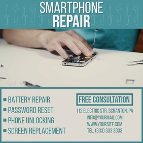 Smartphone Repair video ad instagram Square (1:1) template