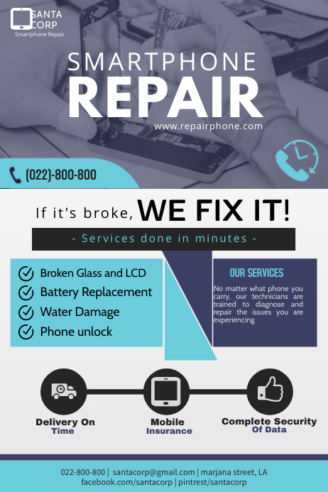 smartphone service flyer Poster template