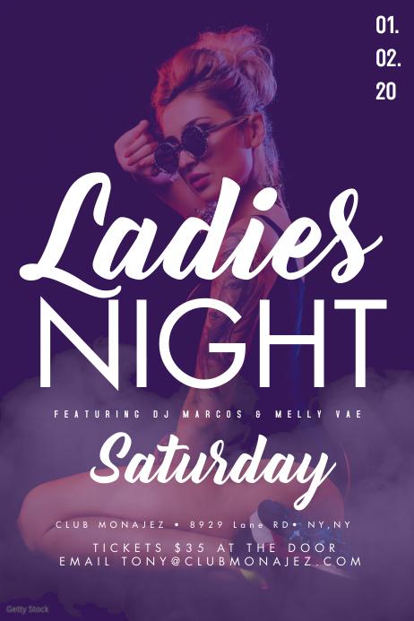 Smoke Girl Club Flyer Ladies Night Cartaz template