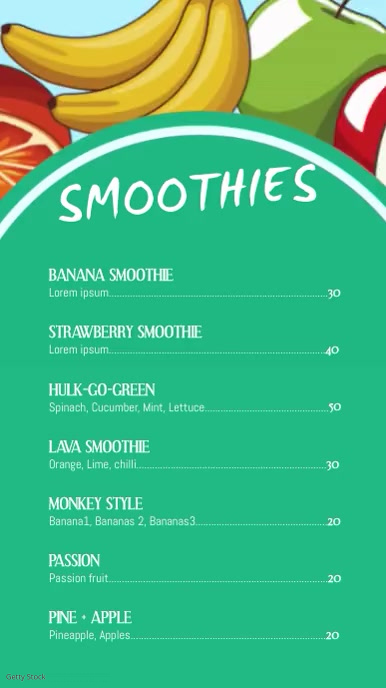 Smoothie bar Menu