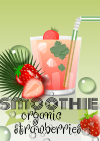 smoothie flyer template strawberries A4