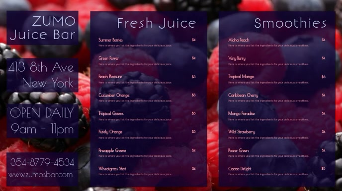 Smoothie Juice Bar Digital Social Media Promo Menu Template