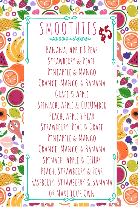 Copy of Smoothie Juice Menu Card Template | PosterMyWall