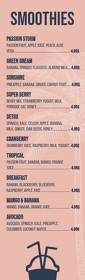 Smoothie menu half page template