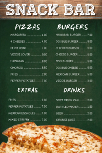 Snack Bar Cafe Menu Template Poster