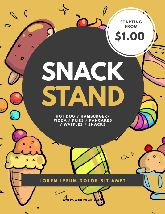 Snack Fast Food stand flyer template