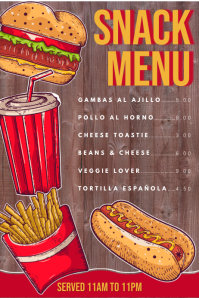 Snack Menu Design Template Poster