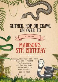 Snake birthday party invitation A6 template