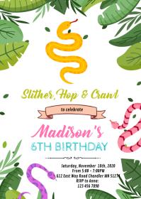 Snake Reptile birthday party invitation
