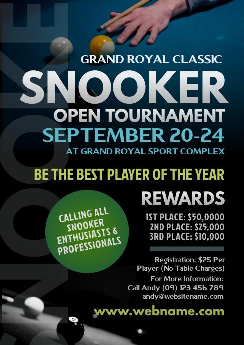Snooker Tournament Flyer A4 template