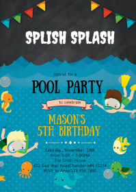 Snorkel birthday party invitation